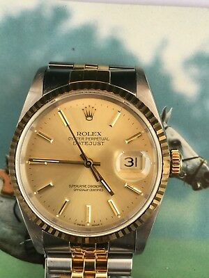 $ CDN7472.65 • Buy Rolex Datejust 36 Mm Steel & 18k Yellow Gold Champagne Dial Fluted Bezel 16233