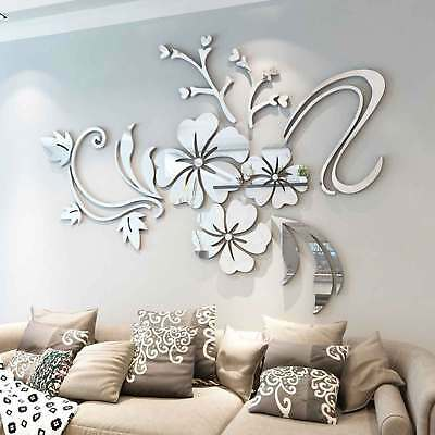 3D Mirror Flower Removable Wall Sticker Art Acrylic Mural Decal Wall Home Decor • 4.99£
