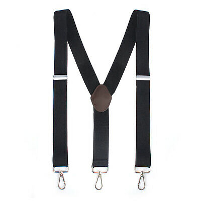 $7.99 • Buy Mens Perry Belt Hook Y-Back Elastic Suspenders Heavy Duty Work Adjustable Black