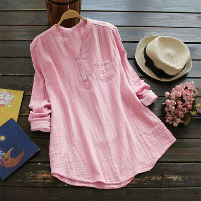 AU14.56 • Buy Women V Neck Long Sleeve Button Blouse Tops Casual Causal Loose Shirt Size S-5XL