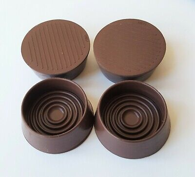 4-High Sided Castor Cups NON SLIP Floor Protector All Rubber Base 44mm • 6.99£