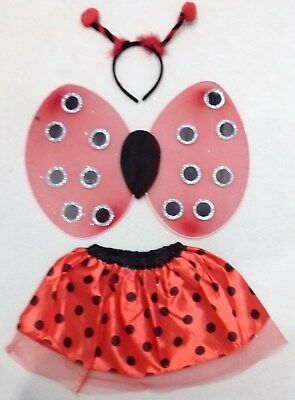 Ladybird Fancy Dress Outfit Tutu Wings Headband Girls Costume Childrens Insect  • 5.45£