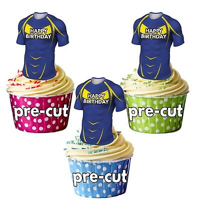 PRECUT Rugby Shirt Birthday Cup Cake Toppers Decorations Leeds Rhinos Colours • 3.49£