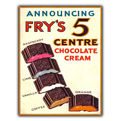 £4.95 • Buy SIGN METAL WALL PLAQUE FRY'S 5 CENTRE CHOCOLATE Retro Vintage Poster Picture