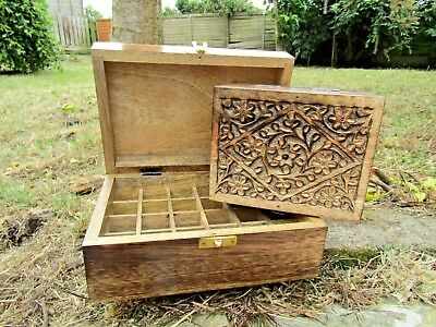 £19.99 • Buy Hand Carved Made Mango Wood Wooden Aromatherapy Essential Oil Box Storage Case