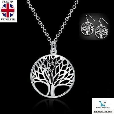 £3.75 • Buy Women's 925 Sterling Silver Tree Of Life Necklace Pendant Earrings Charm Set UK