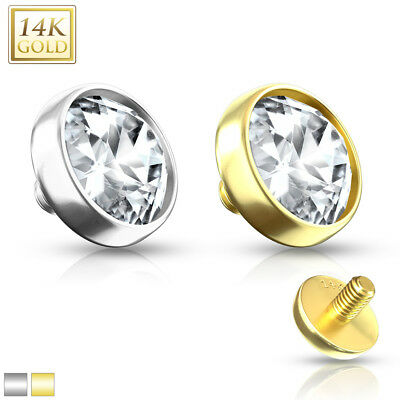 $22.99 • Buy 14K Solid GOLD Clear FLAT DOME Dermal Anchor TOP Studs Internal Piercing Jewelry