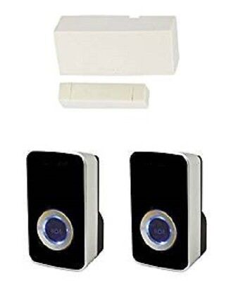 £34.99 • Buy Wireless Door Entry Contact Sensor With 2x Black Chime / Bell - Shop Entry Alert