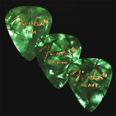$ CDN7.57 • Buy 12 Fender Celluloid Guitar Picks Green Moto - Thin, Med, Heavy Or A Mix Of Sizes