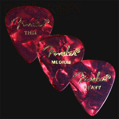 $ CDN7.57 • Buy 12 Fender Celluloid Guitar Picks Red Moto - Thin, Med, Heavy Or A Mix Of Sizes