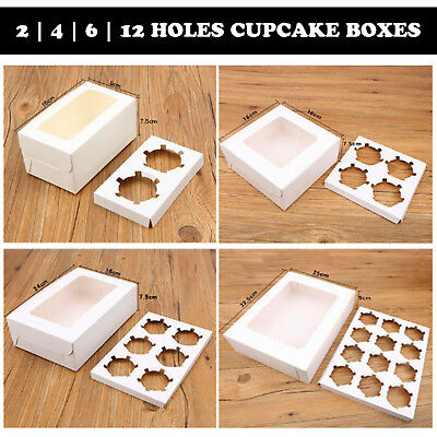 AU10.95 • Buy White Cupcake Box Range 2 Hole 4 Hole 6 Hole 12 Hole Window Face Cases Party