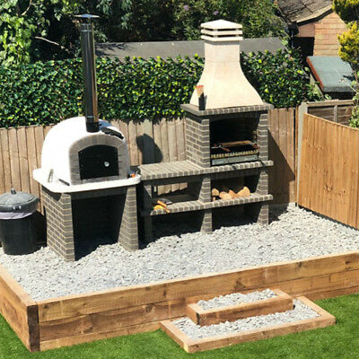 £1700 • Buy Grey Brick Masonry Mediterranean BBQ With Wood Fired Pizza Oven, 2,66m X 2.5m