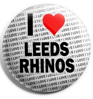I Love Leeds Rhinos Badge Magnet Back - Gift - Birthday - Stocking Filler • 3.45£