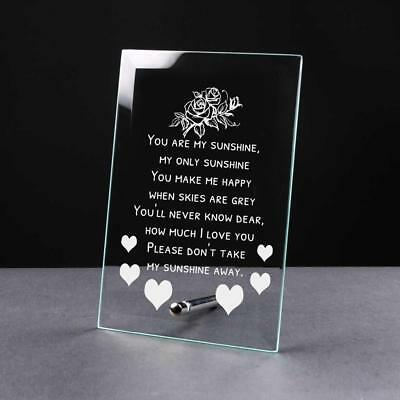 You Are My Sunshine Sentiment Gift Glass Plaque GP43 • 9.81£