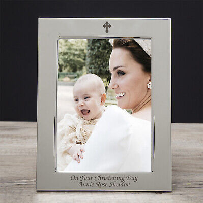 Personalised 5x7 Cross Photo Frame Gifts Ideas For Holy Communion First Girl Boy • 10.99£