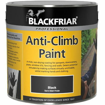 Anti-Climb Vandal Intruder Slippery Semi Matt Finish Black Paint Aids Security • 27.99£