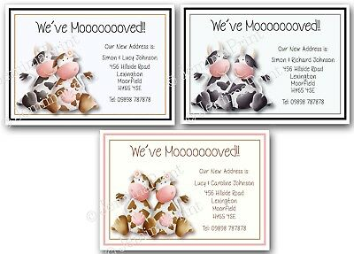Personalised Change Of Address Cards We've Moved House New Home X10 Cows • 3.75£