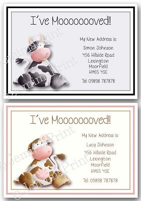 Personalised Change Of Address Cards I've Moved House New Home X10 Cows • 3.75£