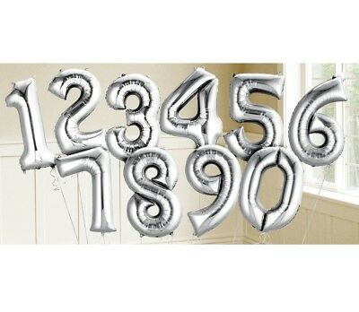 AU5.99 • Buy 86CM Silver Giant Jumbo Numeral Helium Foil Balloon 1 2 3 4 5 6 7 8 9 0 Number