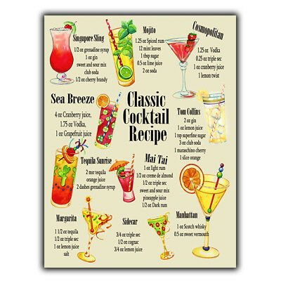 £4.45 • Buy METAL SIGN PLAQUE CLASSIC COCKTAIL RECIPES A5 Print Bar Cafe Kitchen Restaurant