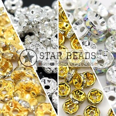 Glass Rhinestone Round Spacer Beads - Pick Colour & Size • 2.20£