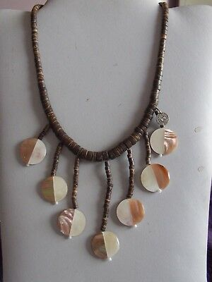 Fab Signed Wooden Bead & Mother Of Pearl Indie Or Hippy Style Necklace • 5.90£