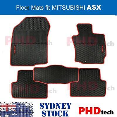 AU89 • Buy MITSUBISHI ASX 2010-2021 Tailored All Weather Rubber Car Floor Mats Red Trim