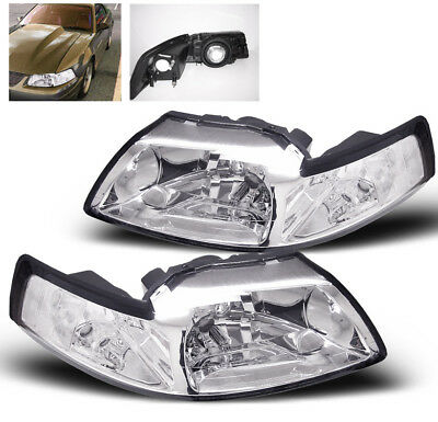 $78.95 • Buy 1999-2004 Ford Mustang Clear Crystal Style Replacement Headlights Headlamps New