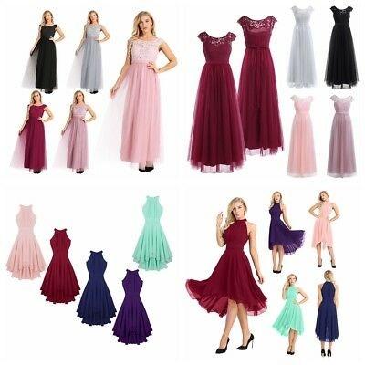 Women Bridesmaid High Low Maxi Dress Cocktail Wedding Evening Party Formal Gowns • 16.09£