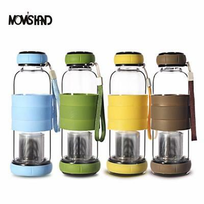 Cover Glass Water Bottle With Tea Infuser Two-way Communication Anti Scald Outdo • 13.47£