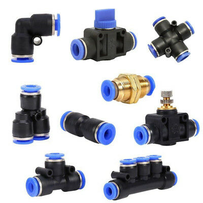 AU7.79 • Buy 6 8 10 12mm Pneumatic Push In Fitting Air Valve Water Pipe Hose Joiner Connector