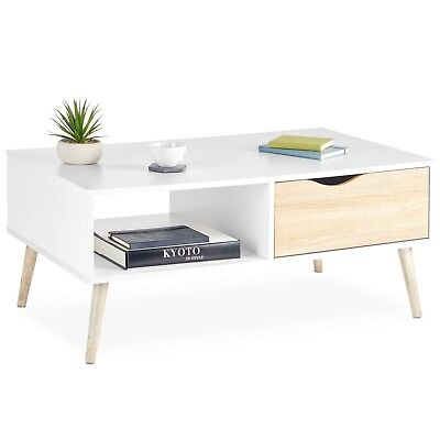 £79.99 • Buy VonHaus Coffee Table Scandinavian Nordic Style White And Light Oak Effect