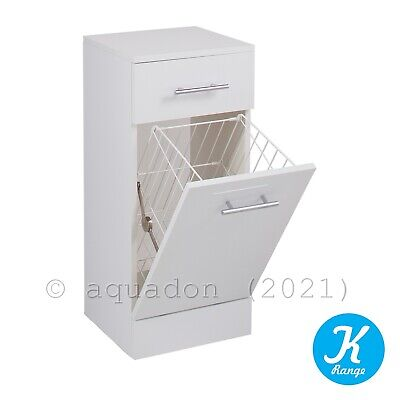 £74.95 • Buy 350 X 300 Kass Bathroom Cloakroom Gloss White Vanity Laundry Unit And Basket