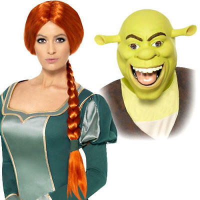 £13.99 • Buy Shrek Mask Or Fiona Wig Adults Fancy Dress Cartoon Book Day Costume Accessories