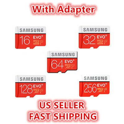 SAMSUNG EVO Plus 16 32 64 128GB MicroSD Class 10 Flash Memory Card W/ SD Adapter • 6.85$