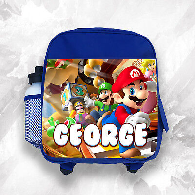 Personalised Kids Backpack Any Name Mario Boys Childrens School Bag 1 • 14.99£