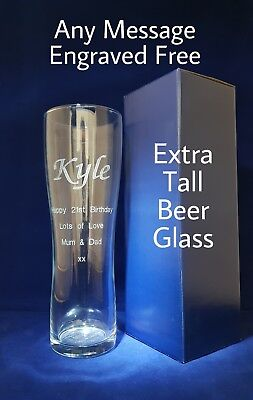 PERSONALISED ENGRAVED TALL PINT GLASS Inc GIFT BOX 18th 21St 25th BIRTHDAY GIFT • 10.90£