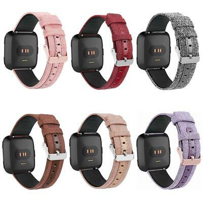$ CDN11.48 • Buy Canvas Leather Adjustable Watch Band Bracelet Wrist Strap For Fitbit Versa