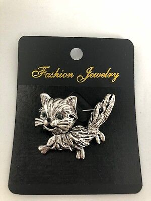 Cute Kitty Cat Brooch Silver Metal With Colour Stone Eyes Gift Pussy *NEW*  • 3.79£