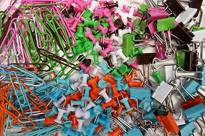 Paper Clips Bulldog Clips & Push Pins 140 Piece Desk Compartmented Organiser • 2.99£