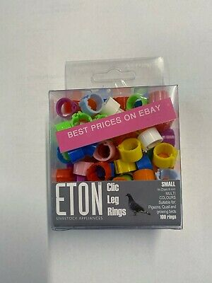 New Eton Poultry Chicken Hens Chick Pigeon 8mm Clic Clip Leg Rings 10 Colours • 1.72£