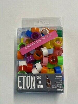 New Eton Bantam Duck Poultry Pheasant 12 Mm Clic Clip Leg Rings Choice Of Colour • 1.70£