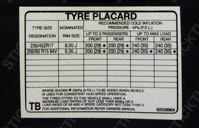 AU19.10 • Buy Suits Holden HSV VN Group A - Tyre Placard