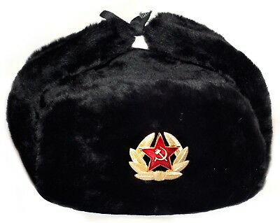5a916ff2890e1 Ushanka Russian Military Ussr Army Fur Winter Hat Soviet Soldier Red Star  Badge • 6.99