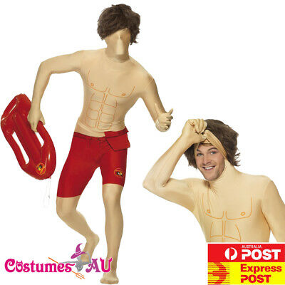 AU9.98 • Buy Mens Baywatch Costume Morph Suits 80s Lifeguard 1980s Adults Morphsuits Outfits
