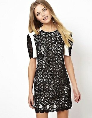 AU30 • Buy Asos Premium Mini Shift Dress With Contrast Lace Size 18 UK