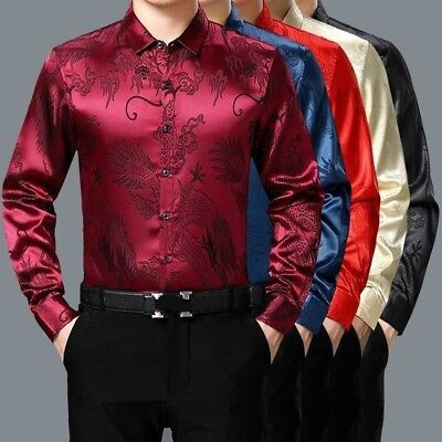 Men Faux Silk Satin Shirt Business Formal Long Sleeve Blouse Casual Top Chinese • 16.70£