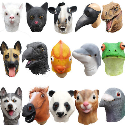 Halloween Latex Full Head Animal Cosplay Masquerade Fancy Dress Up Carnival Mask • 13.69£
