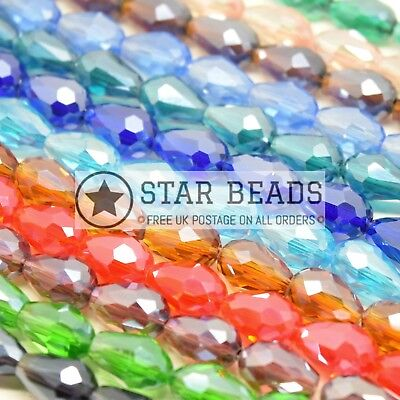 Faceted Teardrop Glass Beads  - Pick Lustre Colour & Size • 2.90£