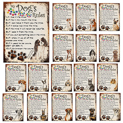 Dog's Rules Metal Sign Funny Pet Breed Plaque Retro Style Decor Gift Shabby Chic • 5.50£